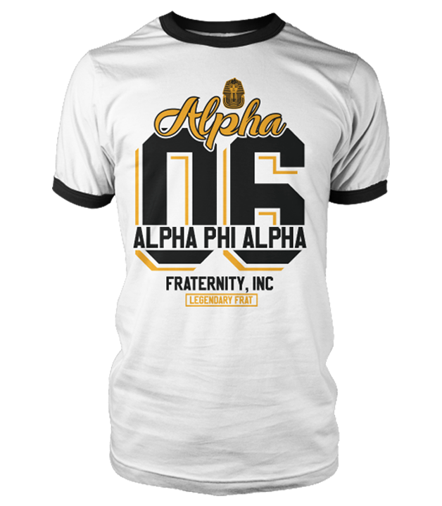 Alpha Phi Alpha Legendary Ringer T-Shirt - Letters Greek Apparel - Black Greek Paraphernalia - Divine Nine Greek Apparel
