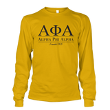 Alpha Phi Alpha Collegiate Long Sleeve - Letters Greek Apparel - Black Greek Paraphernalia - Divine Nine Greek Apparel