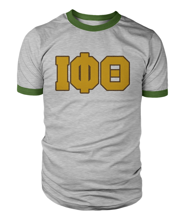 Iota Phi Theta Greek Letter Heather Ringer Tee - Letters Greek Apparel - Black Greek Paraphernalia - Divine Nine Greek Apparel - Atlanta Greek Store