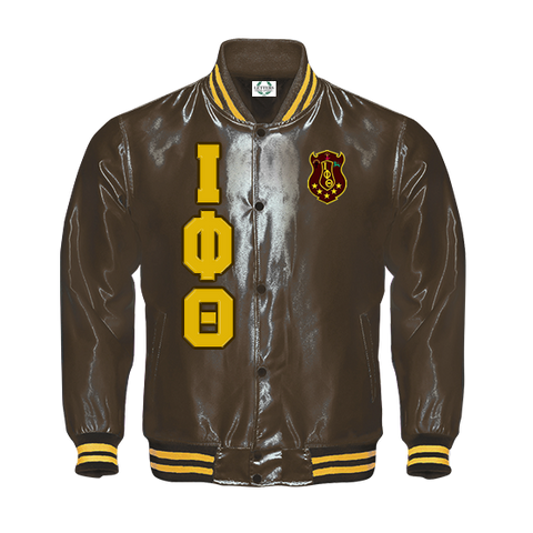 Iota Phi Theta Satin Baseball Bomber Jacket - Letters Greek Apparel - Black Greek Paraphernalia - Divine Nine Greek Apparel - Atlanta Greek Store