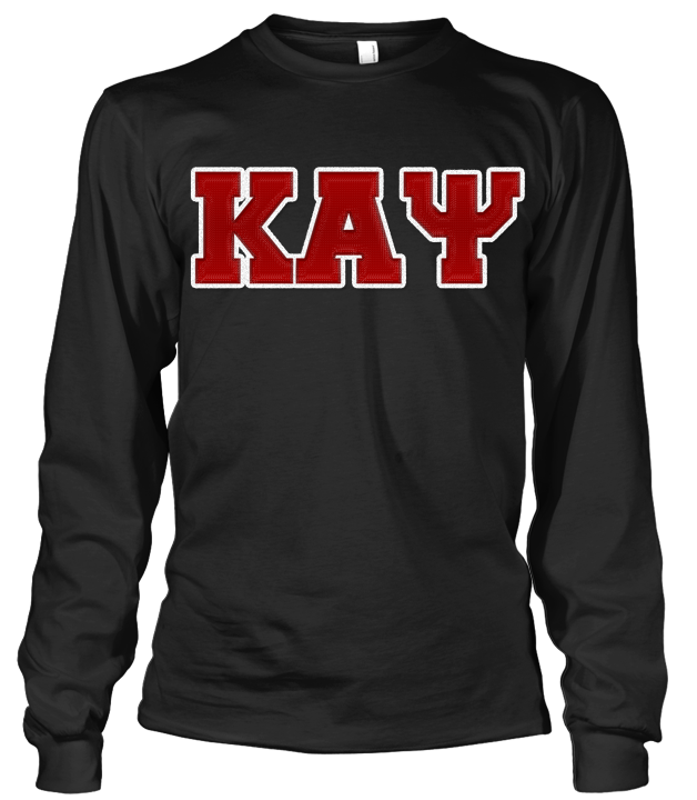 Kappa Alpha Psi Greek Letter Long Sleeve - Letters Greek Apparel - Black Greek Paraphernalia - Divine Nine Greek Apparel