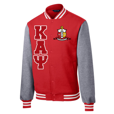 Kappa Alpha Psi Varsity Fleece Jacket - Letters Greek Apparel - Black Greek Paraphernalia - Divine Nine Greek Apparel