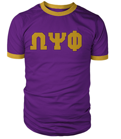Omega Psi Phi Greek Letter Ringer Tee - Letters Greek Apparel - Black Greek Paraphernalia - Divine Nine Greek Apparel - Atlanta Greek Store