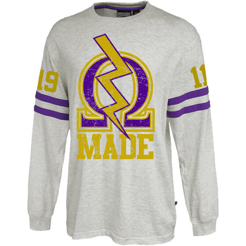 Omega Psi Phi Vintage Stripe Jersey - Letters Greek Apparel - Black Greek Paraphernalia - Divine Nine Greek Apparel