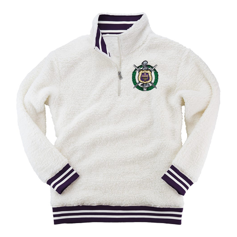Omega Psi Phi Embroidered Sherpa Fleece Quarter-Zip Sweater