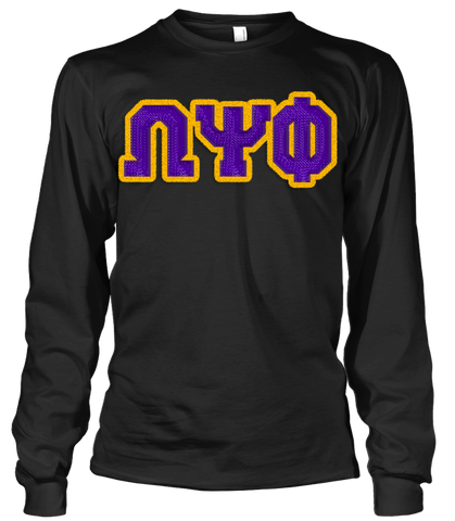 Omega Psi Phi Greek Letter Long Sleeve Shirt - Letters Greek Apparel - Black Greek Paraphernalia - Divine Nine Greek Apparel