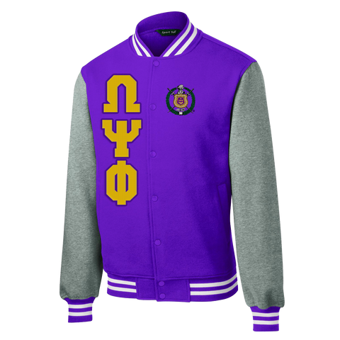 Omega Psi Phi Fleece Varsity Jacket - Letters Greek Apparel - Black Greek Paraphernalia - Divine Nine Greek Apparel