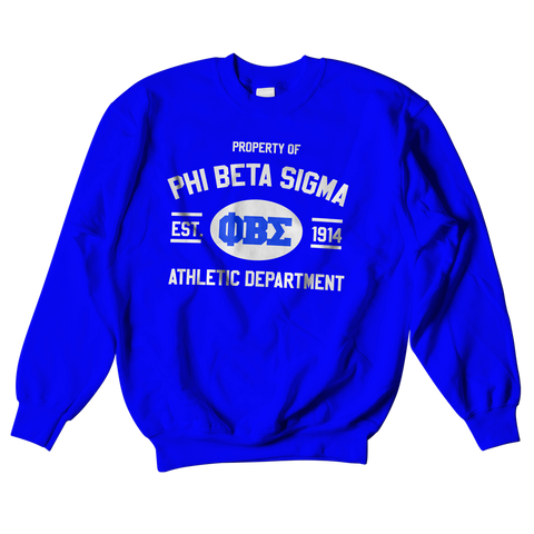 Phi Beta Sigma Athletic Crewneck Sweatshirt - Letters Greek Apparel - Black Greek Paraphernalia - Divine Nine Greek Apparel