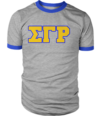 Sigma Gamma Rho Greek Letter Heather Ringer - Letters Greek Apparel - Black Greek Paraphernalia - Divine Nine Greek Apparel