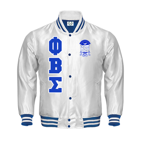 Phi Beta Sigma Satin Baseball Bomber Jacket (White)