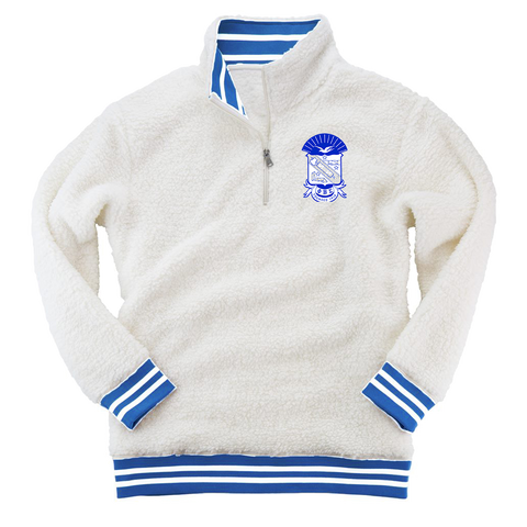 Phi Beta Sigma Embroidered Sherpa Fleece Quarter-Zip Sweater
