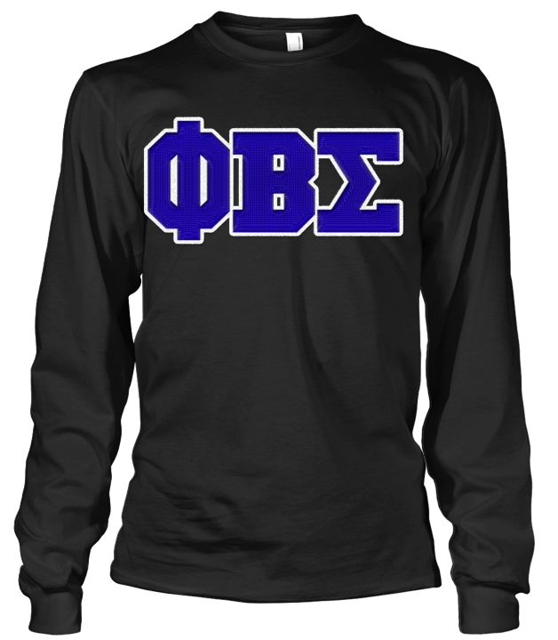 Phi Beta Sigma Greek Letter Long Sleeve - Letters Greek Apparel - Black Greek Paraphernalia - Divine Nine Greek Apparel
