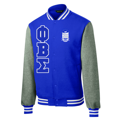Phi Beta Sigma Varsity Fleece Jacket - Letters Greek Apparel - Black Greek Paraphernalia - Divine Nine Greek Apparel
