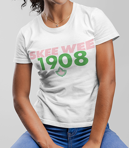 Alpha Kappa Alpha Skee Wee 1908 Founding Year T-Shirt - Letters Greek Apparel - Black Greek Paraphernalia - Divine Nine Greek Apparel - Atlanta Greek Store