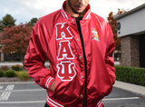 Kappa Alpha Psi Satin Baseball Bomber Jacket - Letters Greek Apparel - Black Greek Paraphernalia - Divine Nine Greek Apparel
