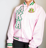 Alpha Kappa Alpha Satin Baseball Jacket (Pink & Green) - Letters Greek Apparel - Black Greek Paraphernalia - Divine Nine Greek Apparel - Atlanta Greek Store