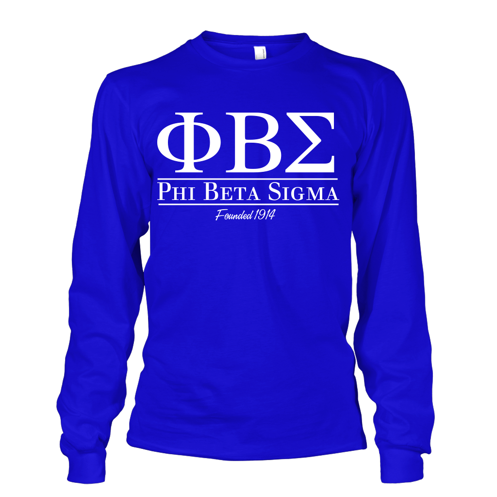 Phi Beta Sigma Collegiate Long Sleeve - Letters Greek Apparel - Black Greek Paraphernalia - Divine Nine Greek Apparel