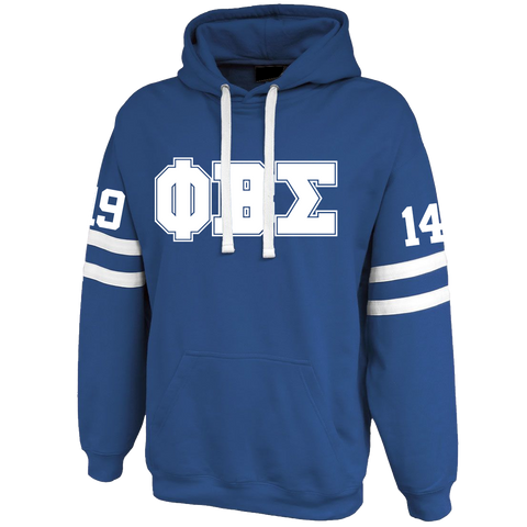 Phi Beta Sigma Twin-Streak Hoodie - Letters Greek Apparel - Black Greek Paraphernalia - Divine Nine Greek Apparel