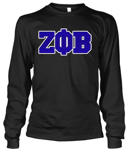 Zeta Phi Beta Greek Letter Long Sleeve - Letters Greek Apparel - Black Greek Paraphernalia - Divine Nine Greek Apparel