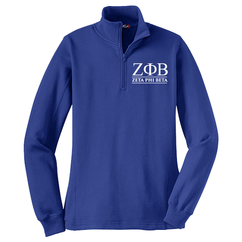 Zeta Phi Beta Embroidered Quarter-zip Sweatshirt - Letters Greek Apparel - Black Greek Paraphernalia - Divine Nine Greek Apparel
