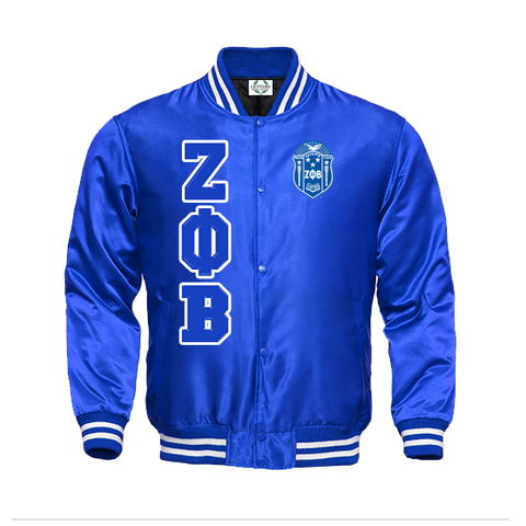 Zeta Phi Beta Satin Baseball Bomber Jacket