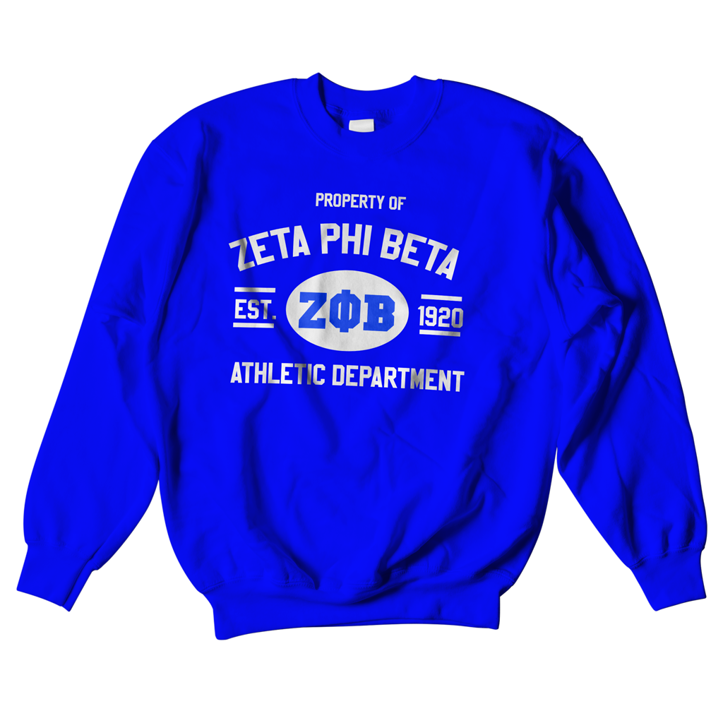 Zeta Phi Beta Athletic Crewneck Sweatshirt - Letters Greek Apparel - Black Greek Paraphernalia - Divine Nine Greek Apparel