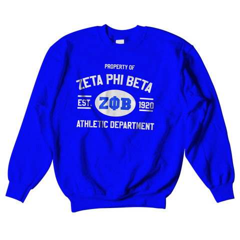 Zeta Phi Beta Athletic Crewneck Sweatshirt - Letters Greek Apparel - Black Greek Paraphernalia - Divine Nine Greek Apparel - Atlanta Greek Store