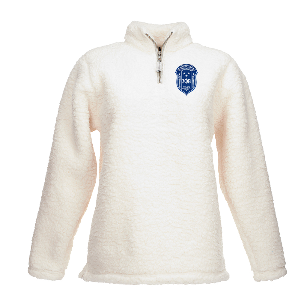 Zeta Phi Beta Embroidered Sherpa Fleece Quarter-Zip Sherpa Sweater