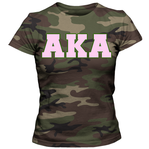 Alpha Kappa Alpha Camouflage - Letters Greek Apparel - Black Greek Paraphernalia - Divine Nine Greek Apparel