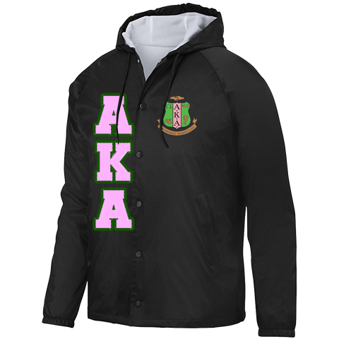 Alpha Kappa Alpha Hooded Crossing Jacket - Letters Greek Apparel - Black Greek Paraphernalia - Divine Nine Greek Apparel