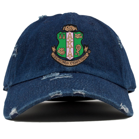Alpha Kappa Alpha Denim Distress Hat - Letters Greek Apparel - Black Greek Paraphernalia - Divine Nine Greek Apparel - Atlanta Greek Store