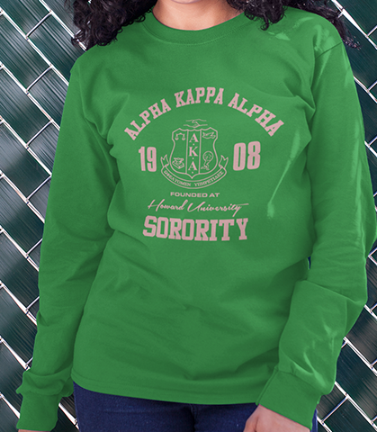 Alpha Kappa Alpha Roots Long Sleeve T-Shirt - Letters Greek Apparel - Black Greek Paraphernalia - Divine Nine Greek Apparel - Atlanta Greek Store