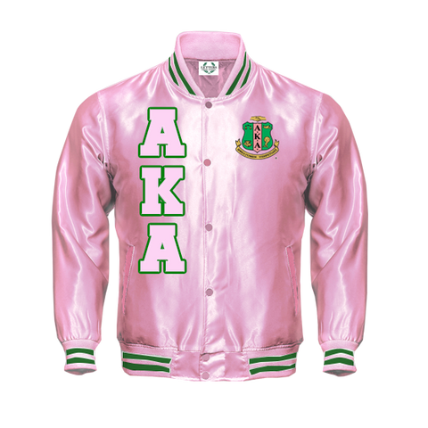 Alpha Kappa Alpha Satin Baseball Jacket (Pink & Green)