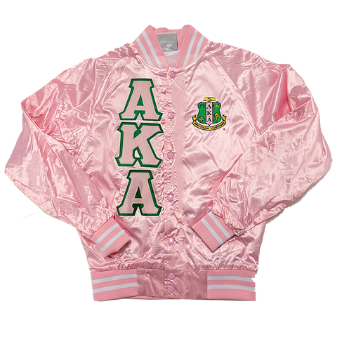 Alpha Kappa Alpha Satin Bomber Jacket - Letters Greek Apparel - Black Greek Paraphernalia - Divine Nine Greek Apparel - Atlanta Greek Store