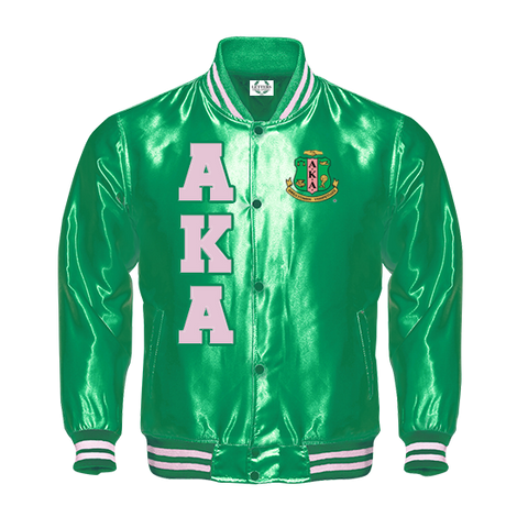 Alpha Kappa Alpha Satin Baseball Jacket (Green)