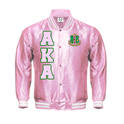 Alpha Kappa Alpha Satin Bomber Jacket - Letters Greek Apparel - Black Greek Paraphernalia - Divine Nine Greek Apparel