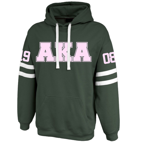 Alpha Kappa Alpha Twin-Streak Hoodie - Letters Greek Apparel - Black Greek Paraphernalia - Divine Nine Greek Apparel