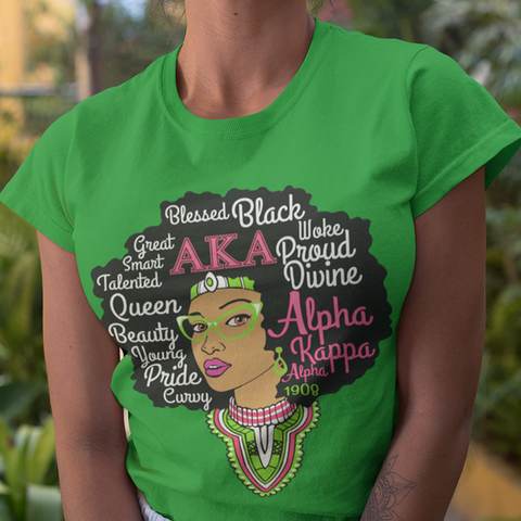 Alpha Kappa Alpha Black Queen T-Shirt - Letters Greek Apparel - Black Greek Paraphernalia - Divine Nine Greek Apparel - Atlanta Greek Store