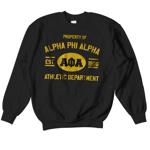 Alpha Phi Alpha Athletic Crewneck Sweatshirt - Letters Greek Apparel - Black Greek Paraphernalia - Divine Nine Greek Apparel