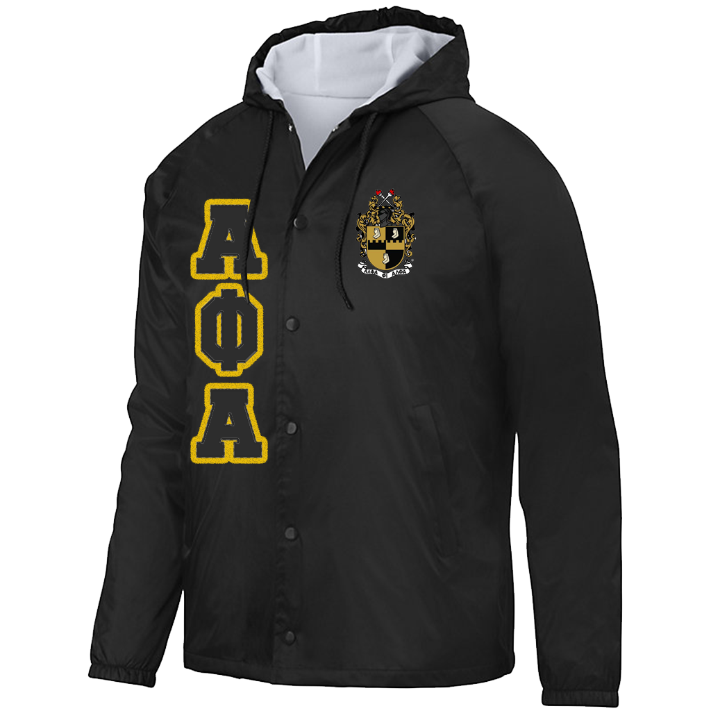 Alpha Phi Alpha Hooded Crossing Jacket - Letters Greek Apparel - Black Greek Paraphernalia - Divine Nine Greek Apparel - Atlanta Greek Store
