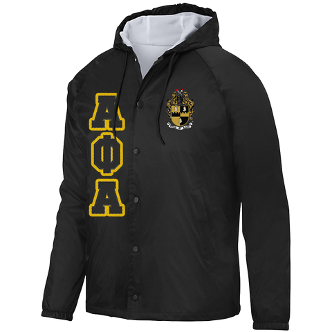 Alpha Phi Alpha Hooded Crossing Jacket - Letters Greek Apparel - Black Greek Paraphernalia - Divine Nine Greek Apparel