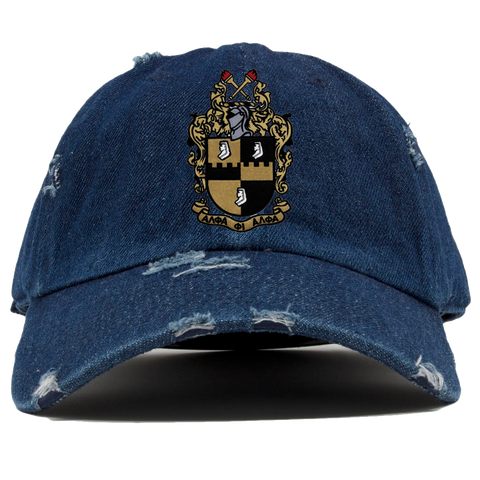 Alpha Phi Alpha Distressed Denim Hat - Letters Greek Apparel - Black Greek Paraphernalia - Divine Nine Greek Apparel - Atlanta Greek Store