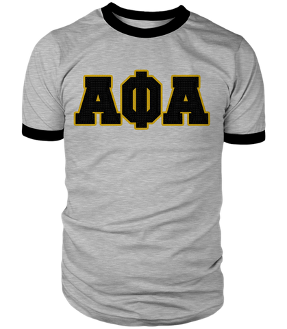 Alpha Phi Alpha Greek Letter Heather Ringer Tee - Letters Greek Apparel - Black Greek Paraphernalia - Divine Nine Greek Apparel
