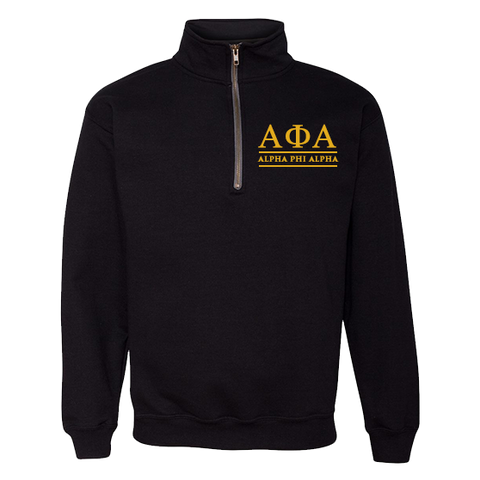 Alpha Phi Alpha Embroidered Quarter-Zip Sweatshirt - Letters Greek Apparel - Black Greek Paraphernalia - Divine Nine Greek Apparel