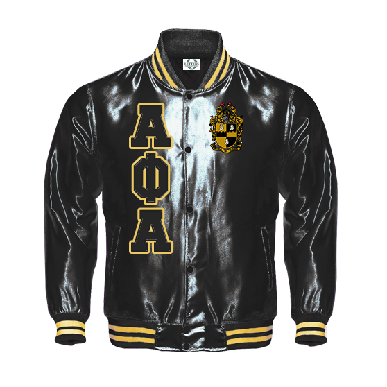 Alpha Phi Alpha Satin Baseball Bomber Jacket (Black/Gold) - Letters Greek Apparel - Black Greek Paraphernalia - Divine Nine Greek Apparel