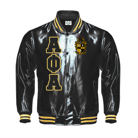 Alpha Phi Alpha Satin Baseball Bomber Jacket (Black/Gold)