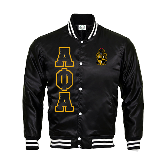 Alpha Phi Alpha Satin Bomber Jacket - Letters Greek Apparel - Black Greek Paraphernalia - Divine Nine Greek Apparel