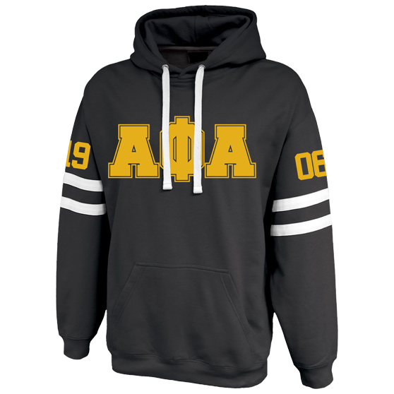 Alpha Phi Alpha Twin-Streak Hoodie - Letters Greek Apparel - Black Greek Paraphernalia - Divine Nine Greek Apparel