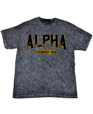 Alpha Phi Alpha Mineral Wash T-Shirt - Letters Greek Apparel - Black Greek Paraphernalia - Divine Nine Greek Apparel - Atlanta Greek Store