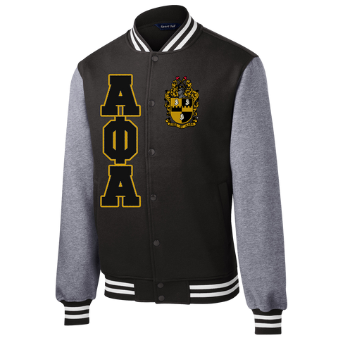 Alpha Phi Alpha Varsity Greek Fleece Jacket - Letters Greek Apparel-Black Greek Paraphernalia-Divine Nine Apparel